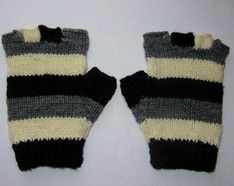 Striped Fingerless Gloves, Hobo Gloves, Gloves, Mittens, Fingerless Mittens, Fingerless Gloves, Teen Gloves, Grey, Black, Cream