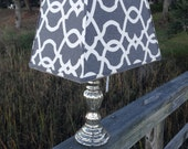 Lamp Shade Grey and White Lattice Lampshade Mercury Glass Table Lamp
