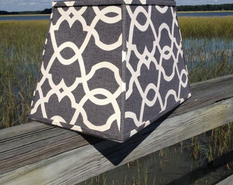 Lamp Shade Rectangular Lampshade in Grey and White Lattice and Scroll Fabric