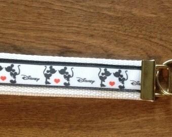 Mickey and Minnie Mouse wristlet key fob keychain