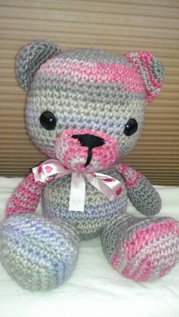Amigurumi Pink Bear : Amigurumi Grey Pink & Lilac Teddy Bear