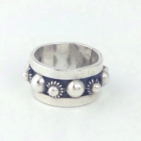 classic mexico silver ring wide sterling band size 6 5 vintage