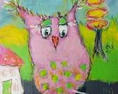 Be happy, it drives people crazy - original mixed media painting - raw - bird - folk art - Piarom
