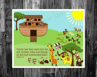 kids bible verse printable, Noah's ark printable, Noah's ark nursery digital download, Two by two they went into the ark scripture