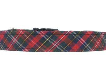 Red, Green, Blue, Yellow Plaid/Tartan Dog Collar - XS S M L XL