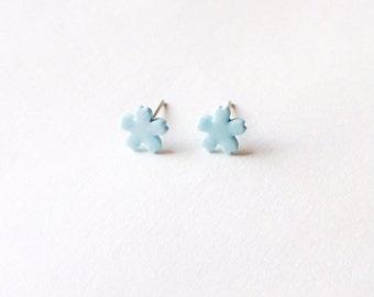 Baby Blue Cherry Blossom Ceramic Earrings - Ceramic earrings - Post earrings - Stud earrings - Baby blue earrings - Sakura earrings