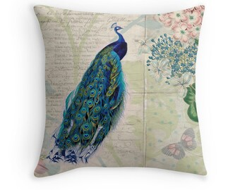Peacock Decor, Peacock Cushion, Bird Throw Pillow, Botanical Illustration, Bird Cushion, Peacock Throw Pillow, Botanical Cushion