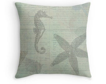 Sea Theme, Ocean Theme, Beach Pillows, Beach Cushions, Beach Decor, Ocean Decor, Shells, Seashells, Sea Stars, Sea Horse, Blue Green Pillow