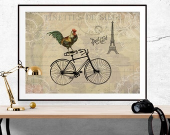 Whimsical Art, Rooster Print, Bird Print, Bicycle Art, Bicycle Decor, Paris Home Decor, Eiffel Tower Print, Eiffel Tower Decor