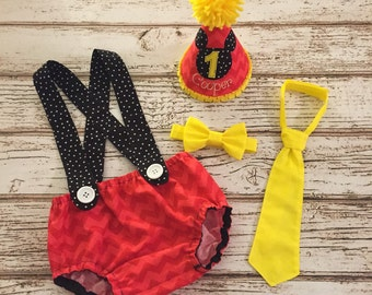 Red Yellow Black Mickey First Birthday Suspenders Diaper Cover, Party Hat, Bow Tie, Tie Outfit - Cake Smash, Photography Prop
