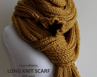 Knit scarf, long knitted scarf, chunky Knit scarf in mustard yellow, cozy softness, knit scarves
