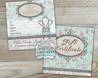 Shabby Chic 5x5 Gift Certificate Design | Boutique, Furniture Restoration, Decorator, Small Business | Printed gift certificates