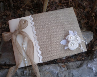 Rustic wedding guest book- burlap guest book-bridal wish book