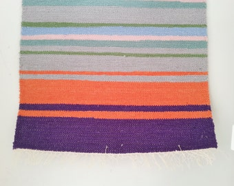 Handwoven Striped Finnish Poppana Rag Rug Table Runner. Cotton Rag Rug.  Cotton Rag Wall