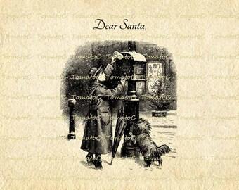 Girl Send Letter to Santa Christmas Digital Image Instant Download.T346