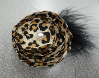 Cheetah and Black Fluff Flower With a Pearl Button Accent