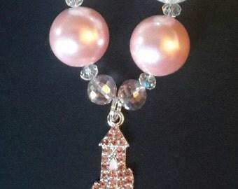 Pink Princess  Castle Bubble Gum Bead Necklace