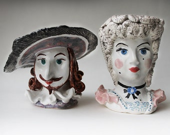 Lady and Gentleman in vintage dress hand sculpted ceramic Egg Cups Set, Pottery hand painted Egg Holder, musketeer figurine Candle Holder