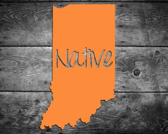 Indiana Native Vinyl Sticker Car Window Door Bumper Decal Pride Home IN