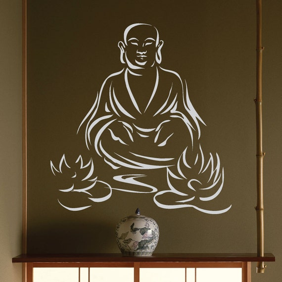 Buddha With Lotus Cut Out Vinyl Decal Sticker Yoga