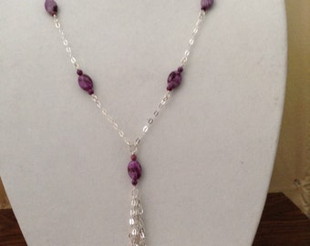 Sugalite and Crazy Lace Agate Claspless Long Necklace on Sterling Silver Chain