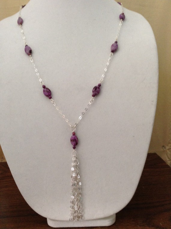 Sugalite and Crazy Lace Agate Claspless Long Necklace on Sterling Silver Chain NSS6151795