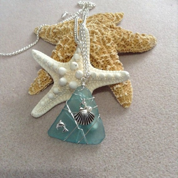 Green Wire Wrapped Sea Glass (Recycled) TG617175