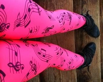 Neon pink funky BEATS music notes Leggings pants lycra neon UV reactive glow
