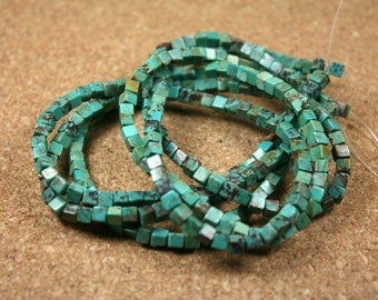 Chinese Turquoise Cube Beads - Smooth Teal and Brown Square Beads, 16 inch strand