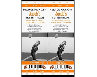 Football Ticket Invitation All Star MVP Birthday Party Orange and Black - Digital File