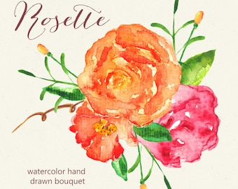Clipart digital Hand Drawn. Rosette. 1 PNG file. Romantic wedding clipart, watercolors. Orange bright bouquet for blog, cards, invitations.