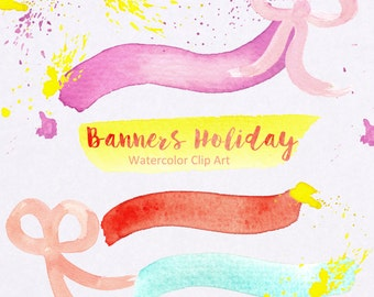 Banners Holiday, splashes clip art. Bright color. Vintage design. Boho style.Watercolour texture.