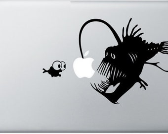 Angler Fish Apple sticker - made w/ high quality vinyl decal for Macbook / Pro / Air 13in 15in & 17in