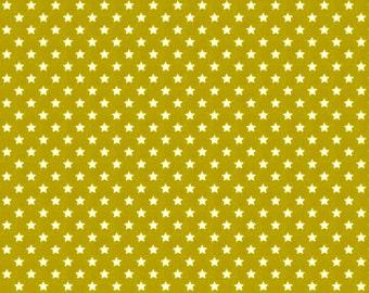 COTTON FABRIC Olive Green Stars - Makower UK 100% premium cotton