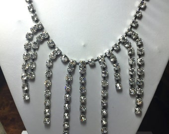 Vintage Rhinestone Bib Necklace ~