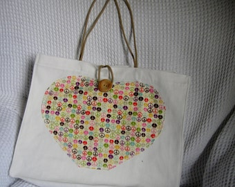 Peace sign, hippy, tote bag. hand made in designer print.