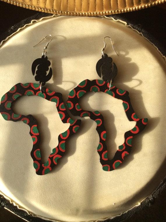 Hand painted African Map Earrings African Earrings Wooden