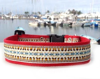 Red with White Hippie Dog Collar For Large and Extra Large Breeds L,  XL and XXL