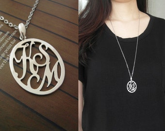 Personalized Initials Ellipse Long Necklace Necklace Round Letters 925 Sterling Silver Jewelry Monogram Name Handmade