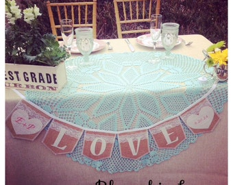 Personalized, LOVE burlap banner, with two embroidered hearts (shown in) natural burlap flags,ivory burlap letters,lace Product ID# 2014-018