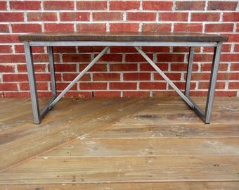 Reclaimed wood and welded steel rectangular hallway bench/coffee table