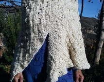 Wraps shawl / open poncho / shrug. Unique & handmade from white merino wool by Esbjörn Aneer