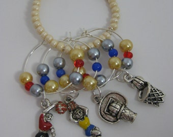 Basketball lovers wine charms. Celebrate March Madness!