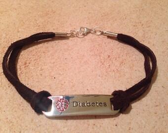 Diabetes Medical Alert Leather Bracelet/Anklet