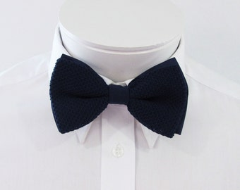 Mens  Bowtie Navy Blue Midnight Blue  Knit  Pre Tied Mans Bow Tie Neck Tie