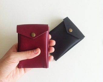 Small leather wallet, men, woman, burgundy, red, black