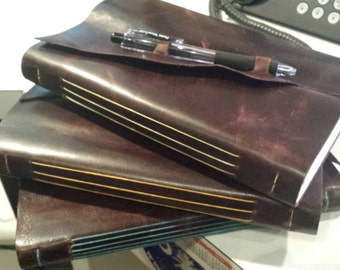 Leather bound sketchbook - handmade - distressed brown leather with pencil closure