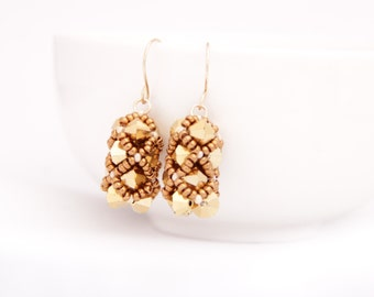 Beaded Netted Earrings with swarovski beads