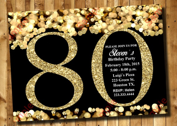 items similar to 80th birthday invitation