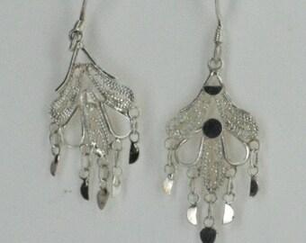 Vintage Sterling Silver  Intricate, Detailed Earrings 1.8g U3659